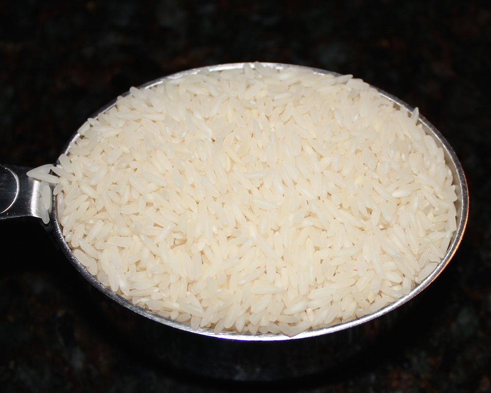 Raw basmati rice.
