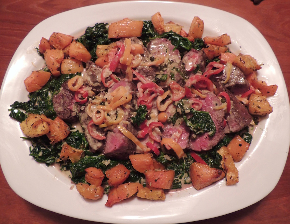 Steak au Poivre with a little twist using mini bell peppers served with creamed spinach and roasted butternut squash.
