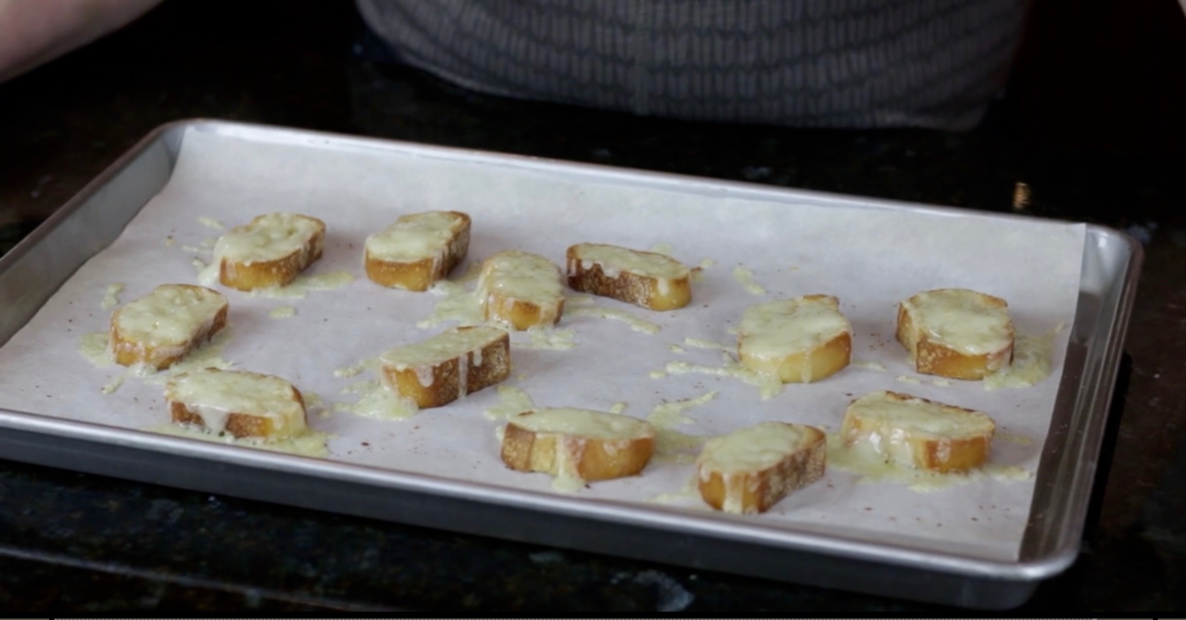 Cheesy crostini