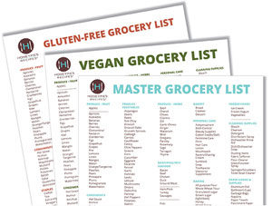 Gluten Free, Vegan and Master Grocery Lists