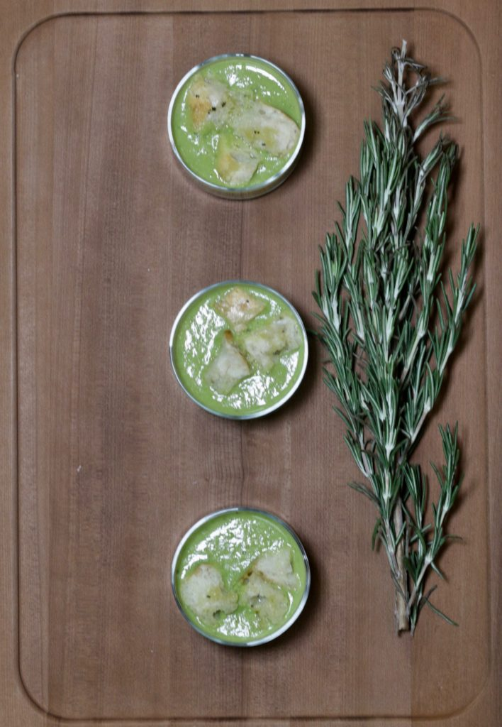 pea soup shooters with herb croutons