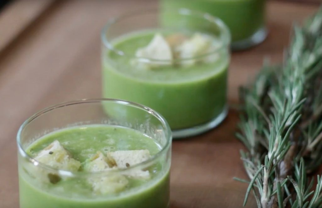 pea soup with homemade croutons